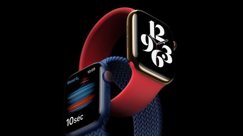 Apple Watch Series 6新增血氧偵測功能。圖/歐新社