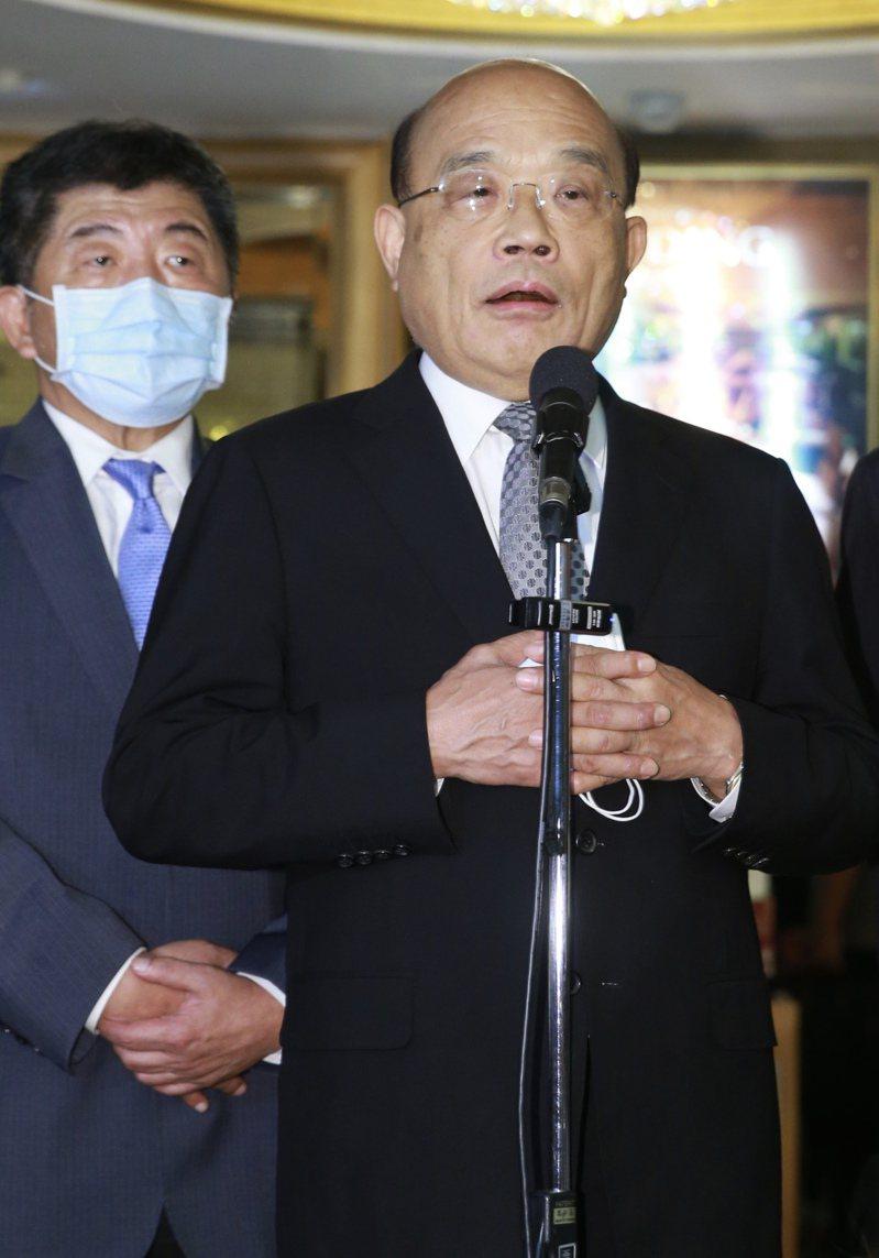行政院長蘇貞昌說,中國對台灣施加武力恐嚇,非常不該,政府會堅守台灣安全,並讓全世界知道誰是麻煩製造者。聯合報系記者許正宏/攝影