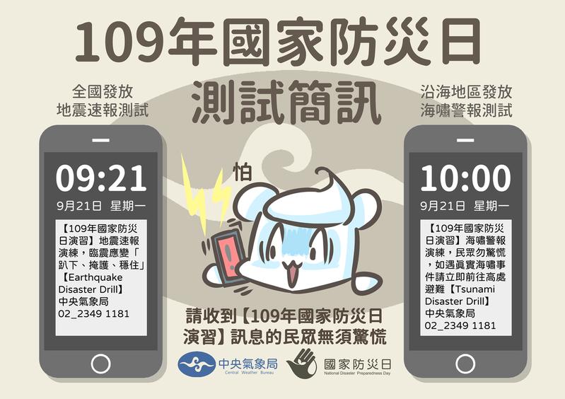 中央氣象局訂於9月21日下周一舉行國家防災日演習的地震、海嘯速報演練。圖/取自臉書粉專「報天文 - 中央氣象局」