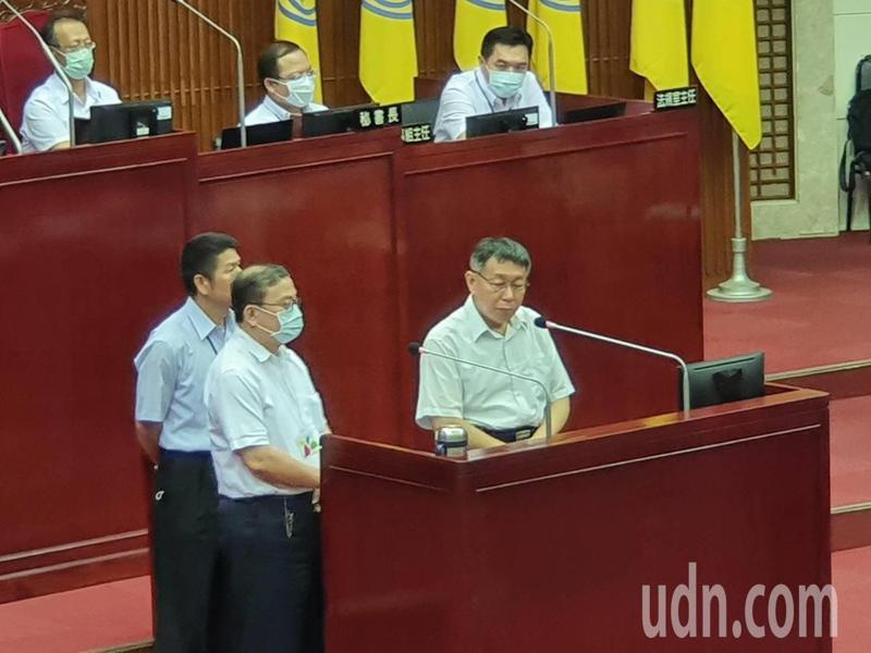 台北市議會新會期開議,市長柯文哲下午赴議會進行施政報告和質詢。記者楊正海/攝影
