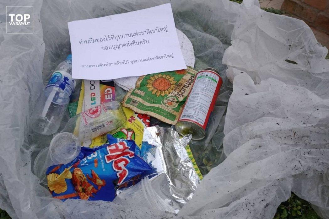 泰國環保部長維拉兀在臉書貼出照片,顯示垃圾已整理好,放進便利箱、準備寄回給亂丟的...