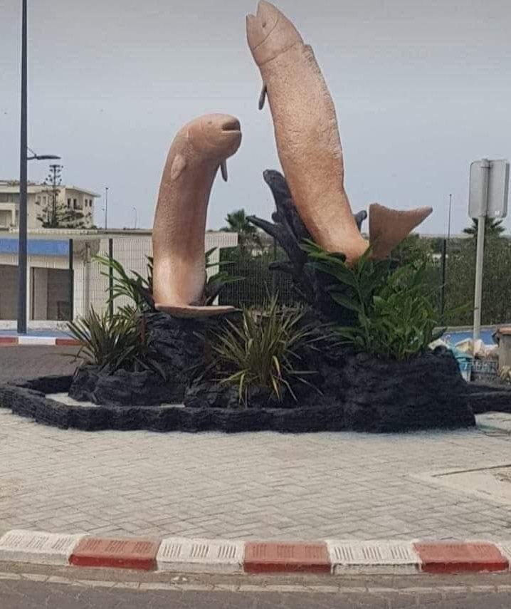 摩洛哥的這座飛魚雕像因外觀像男性生殖器,被當地居民批評而拆除。圖擷自The Sun