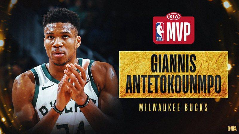 密爾瓦基公鹿球星安戴托昆波(Giannis Antetokounmpo)今天獲選年度MVP,連續第2年獲得這項殊榮。 截圖自NBA官方推特