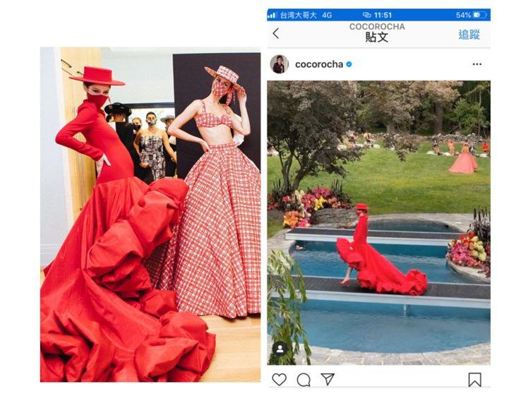 Coco Rocha挺著7月孕肚出席CHRISTIAN SIRIANO 2021...