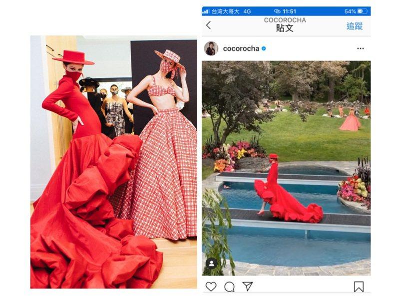 Coco Rocha挺著7月孕肚出席CHRISTIAN SIRIANO 2021春夏大秀。圖/取自IG