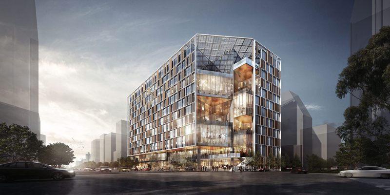 新建南門市場大樓為高12層鋼骨鋼筋混凝土建築,還與捷運萬大線共構。圖/北市新工處提供