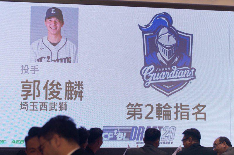 富邦簽約第二輪選秀郭俊麟。報系資料照