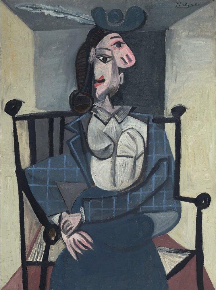 抽象派大師畢加索的1941年畫作「坐在扶手椅上的女子」。圖/佳士得提供