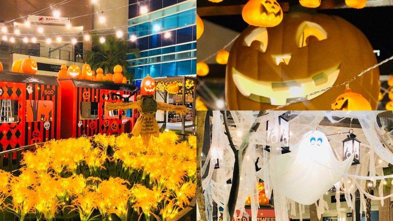 林口三井OUTLET打造「秋日派對-萬聖鬼怪列車」主題造景。
