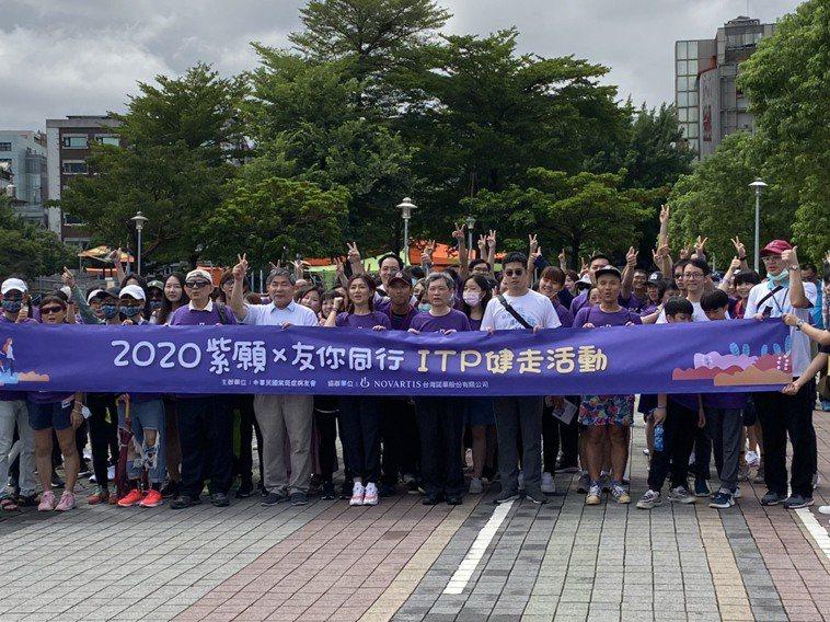 中華民國紫斑症病友會今舉行健走活動。記者簡浩正/攝影