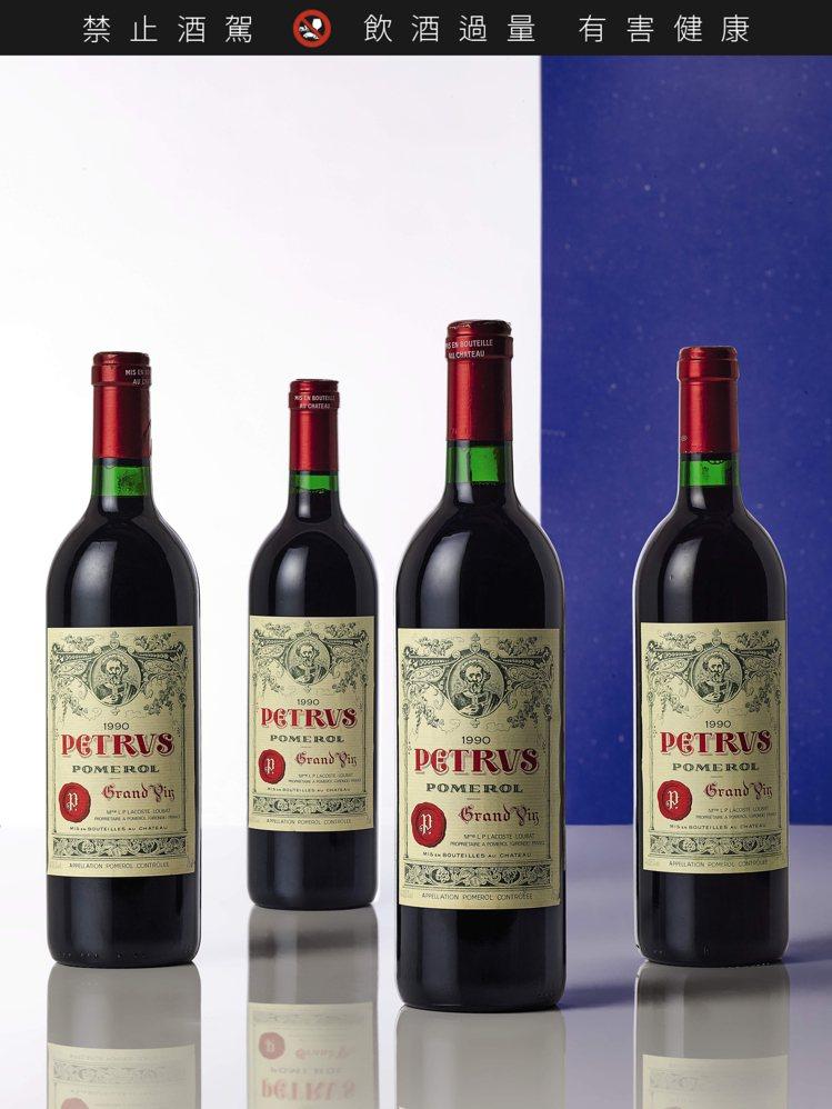Petrus柏翠堡1990年,12瓶,估價32萬港元起。圖/蘇富比提供
