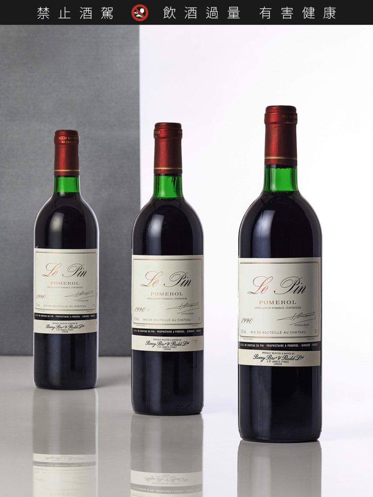 Le Pin 1990年,12 瓶,估價28萬港元起。圖/蘇富比提供