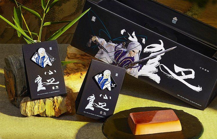 「紅磚布丁」攜手「霹靂布袋戲」推出霹靂刀狂劍痴禮盒,10入480元。圖/環球購物...