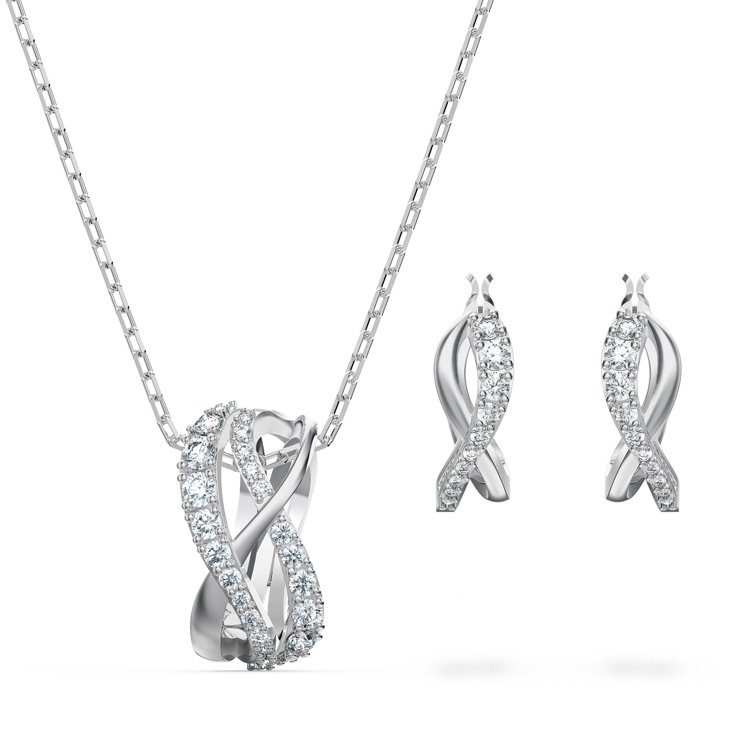 SWAROVSKI Twist項鍊與耳環套組,6,490元。圖/施華洛世奇提供