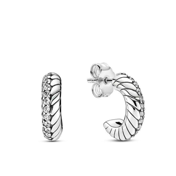PANDORA Pandora Icons蛇鍊圖騰925銀耳環,2,480元。圖...