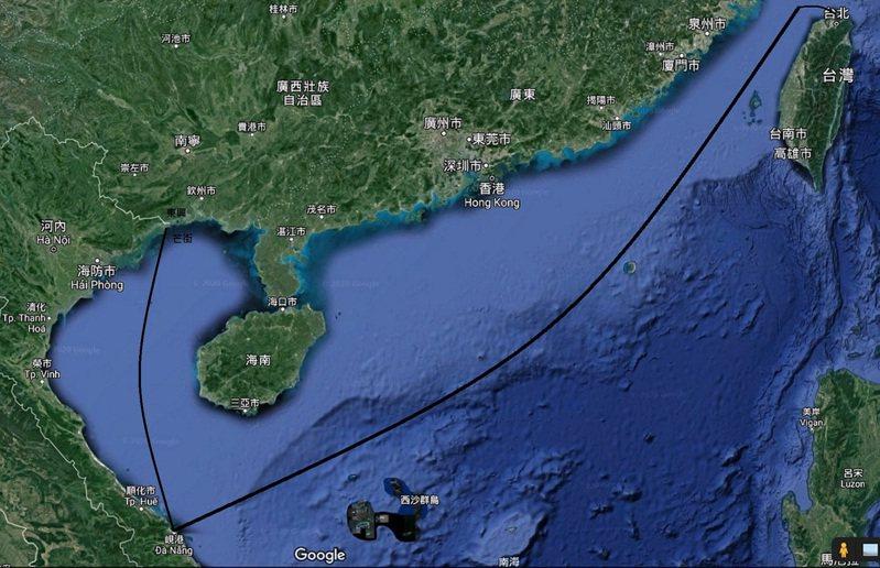 昌明班從淡水經峴港到芒街航線圖。繪圖/高智陽
