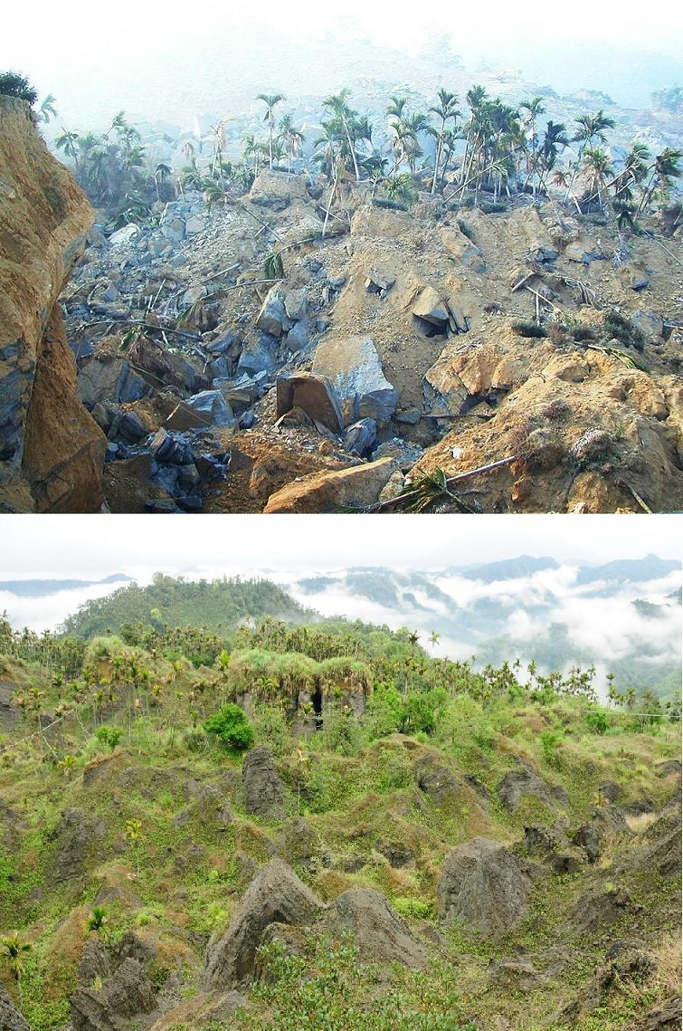 位在南投縣國姓鄉的九份二山,因為921大地震走山位移,地形地貌產生劇烈改變,透過今昔照片對比,來看這場浩劫的破壞與重生。上圖/聯合報系資料照片 下圖/特生中心提供