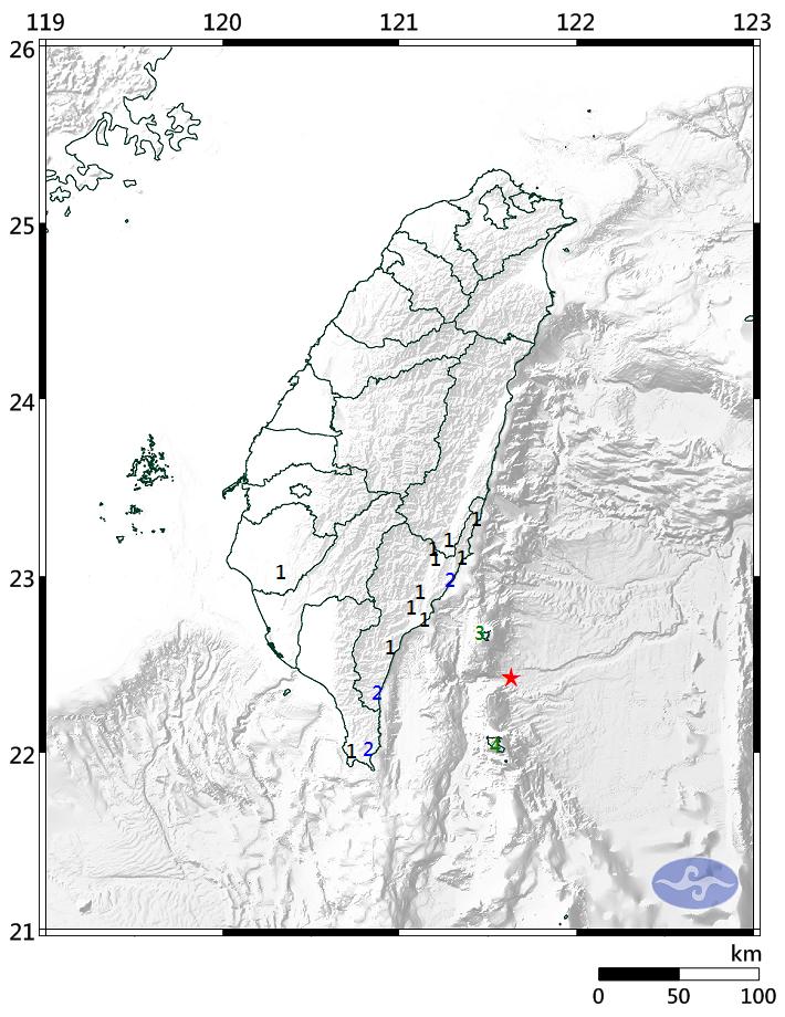 今天(21日)上午7時54分47.2秒台東地區發生芮氏規模4.6的有感地震。圖/中央氣象局提供