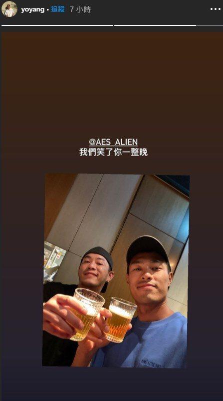 Junior(左)、楊祐寧(右)昨日聚餐聊起故友小鬼。圖/摘自臉書