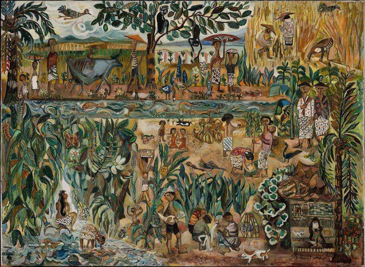 將於蘇富比香港上拍的蘇加那克爾頓的「印尼鄉間生活」,估價180萬港元起。圖/蘇富...