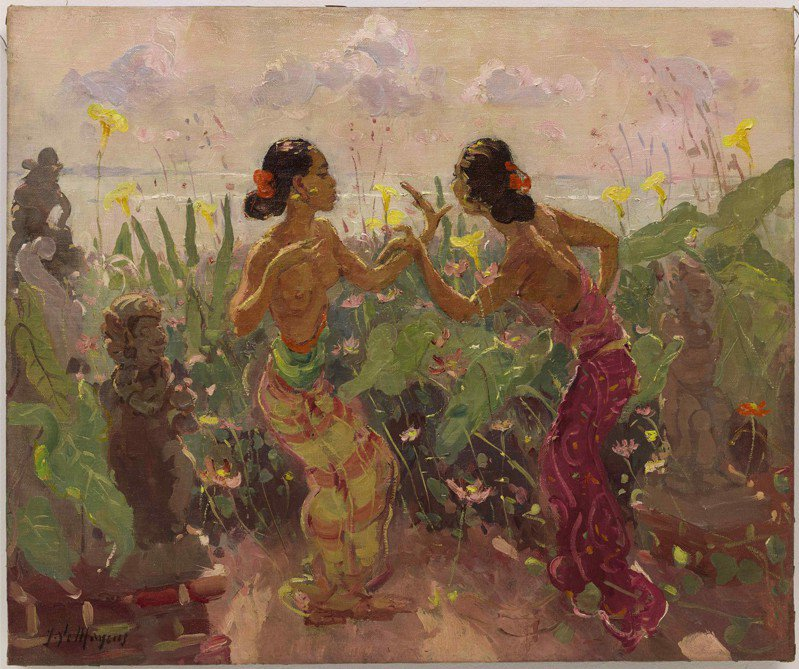 將於蘇富比香港上拍的Adrien Jean Le Mayeur de Merpres作品「花園裡跳舞的兩個女郎」,估價280萬港元起。圖/蘇富比提供