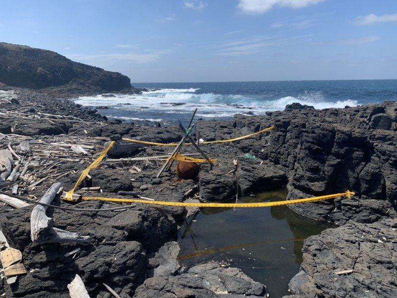 澎湖無人島鋤頭嶼被發現水雷,國軍研判恐為二戰遺留。圖/澎防部提供