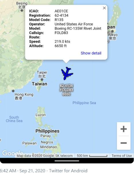 國外軍事迷在「飛機守望」Aircraft Spots推特貼文,一架美軍RC-135W電子偵察機,今天上午6點42分從日本沖繩嘉手納基地起飛後,飛往台灣西南方公海上空進行軍事偵察任務。圖/取自「飛機守望」Aircraft Spots推特