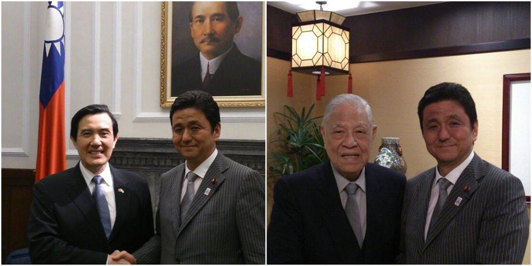 左為岸信夫於2016年訪問台灣,與時任總統馬英九合影,當時台日雙方也正為沖之鳥礁...
