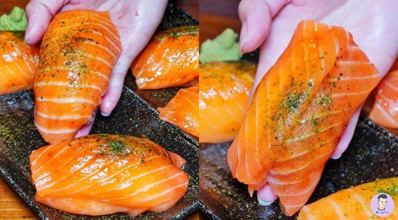台南也吃得到近巴掌大小的巨無霸握壽司,一盤3貫190元。圖/IG@tainanxian_food授權