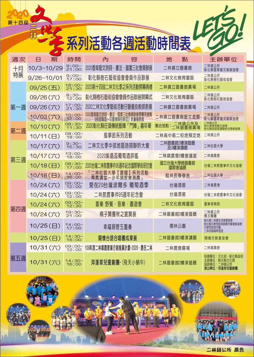 第14屆的彰化二林文化季「2020我愛二林」活動表,觀迎全國各界來二林鎮吃喝玩樂...