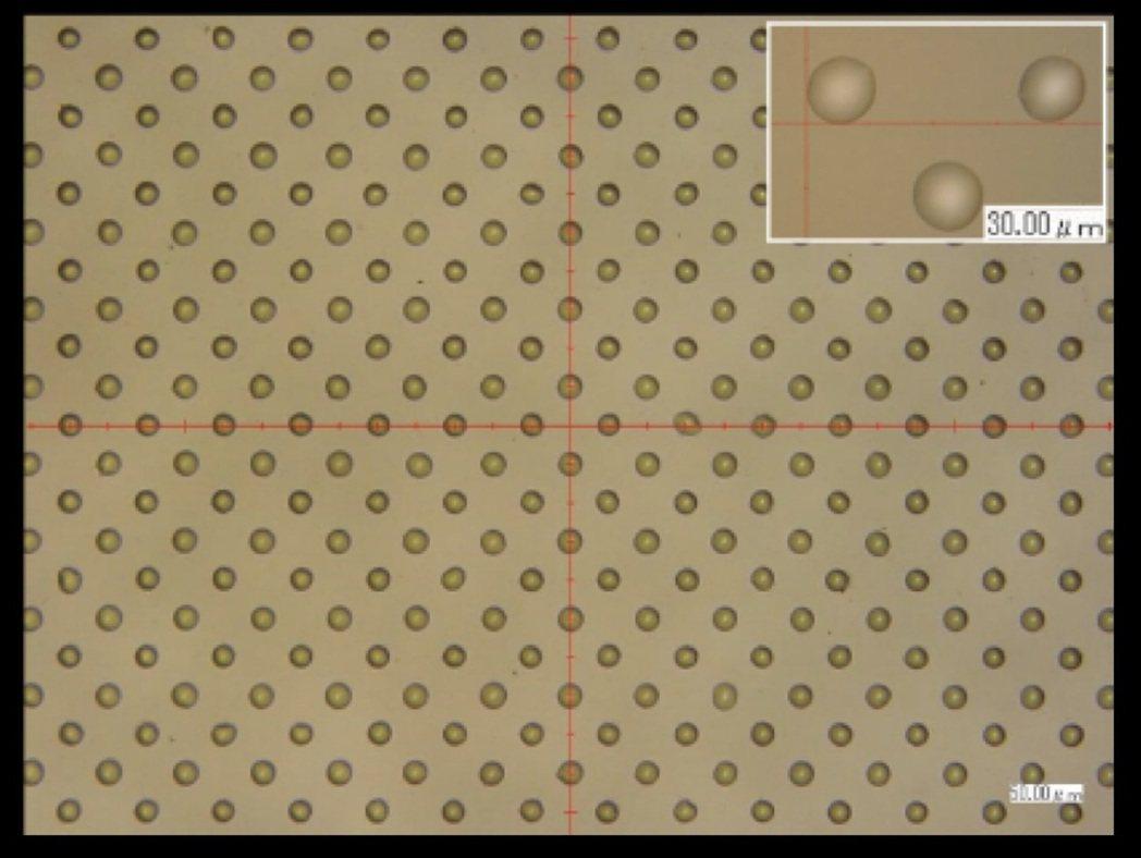 SIJ專利噴塗技術,可打出均勻的Dot ,上圖為實際噴塗狀況。