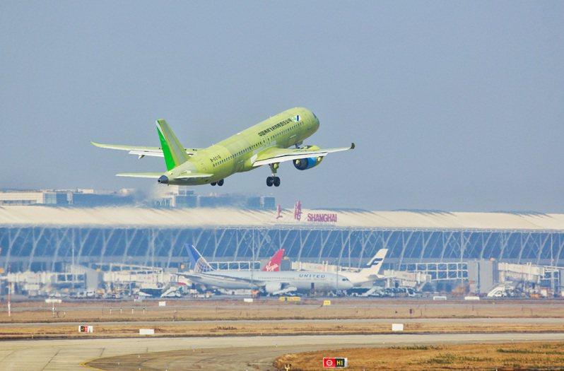 中國近年全力投入國產大型客機C919製造,目前已有28家海內外用戶、全球訂單總數達815架。圖為C919大型客機在上海浦東機場起飛。圖/新華社資料照