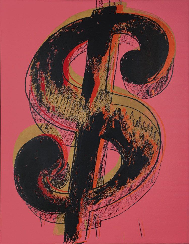安迪沃荷1981年作品「美元符號」,估價4600萬港元起。圖/佳士得提供