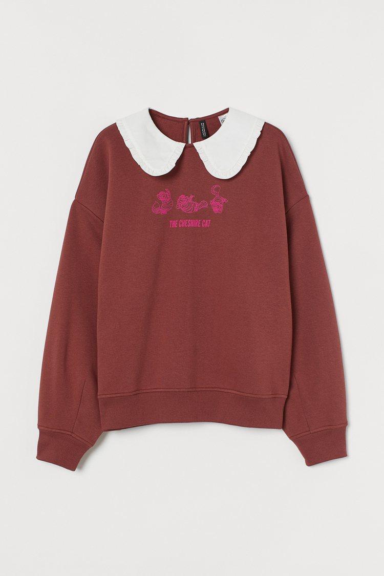 Divied亞洲時尚《愛麗絲夢遊仙境》聯名系列長袖上衣799元。圖/H&M提供