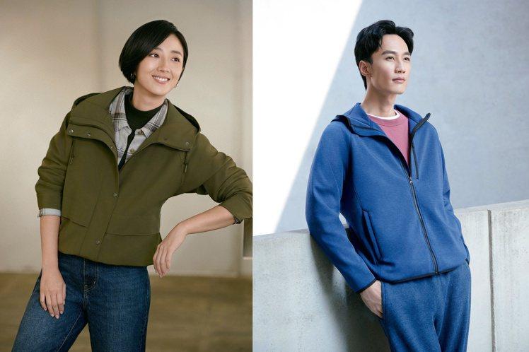 UNIQLO來台10周年,推出「新‧無界美型外套」系列,請來桂綸鎂(左)和李英宏...