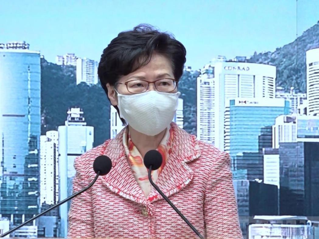 香港特首林鄭月娥說,獲悉陳同佳願意赴台自首,如有需要港府願意協助。(香港電台)