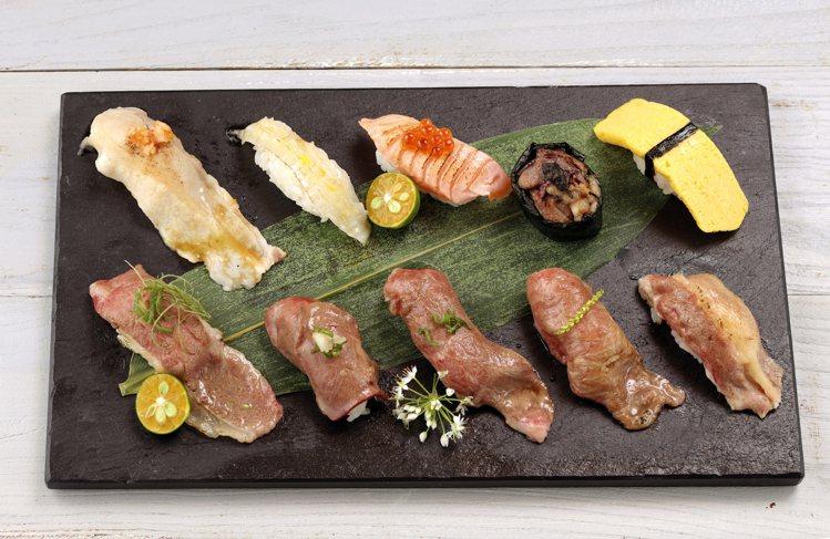 鉄火燒肉推出的「十貫握壽司套餐」,每套498元。圖/樂軒提供