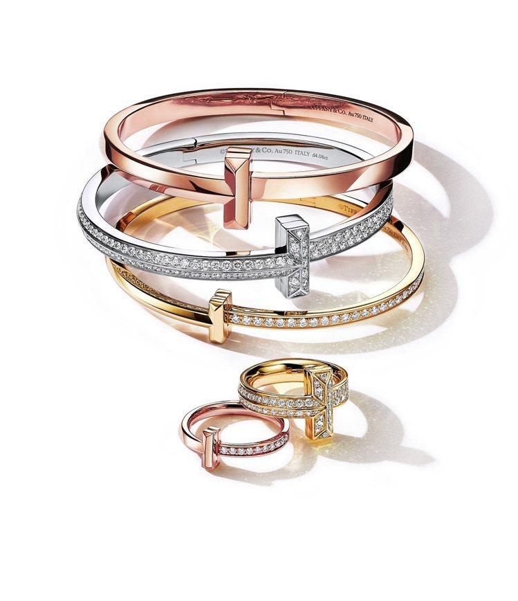 TIFFANY & CO. T1系列手環與戒指,56,000元起。圖/Tiffa...