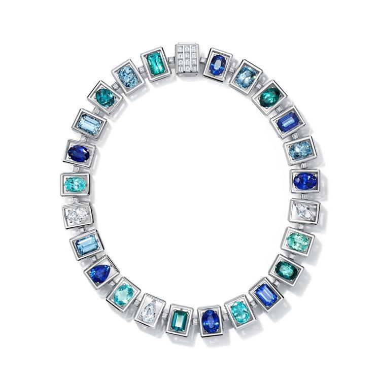 Tiffany Jewel Box高級珠寶系列Frame鉑金項鍊,鑲嵌總重超過3...