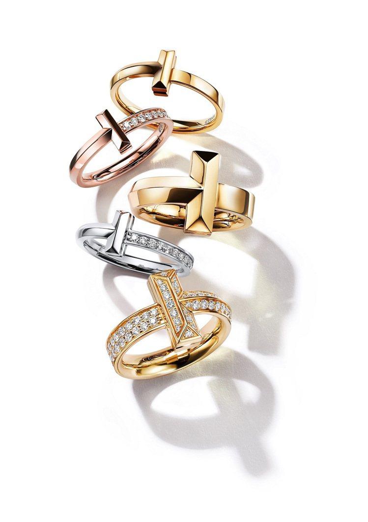 TIFFANY & CO. T1系列全新作品,18K金戒指,32,000元起。圖...