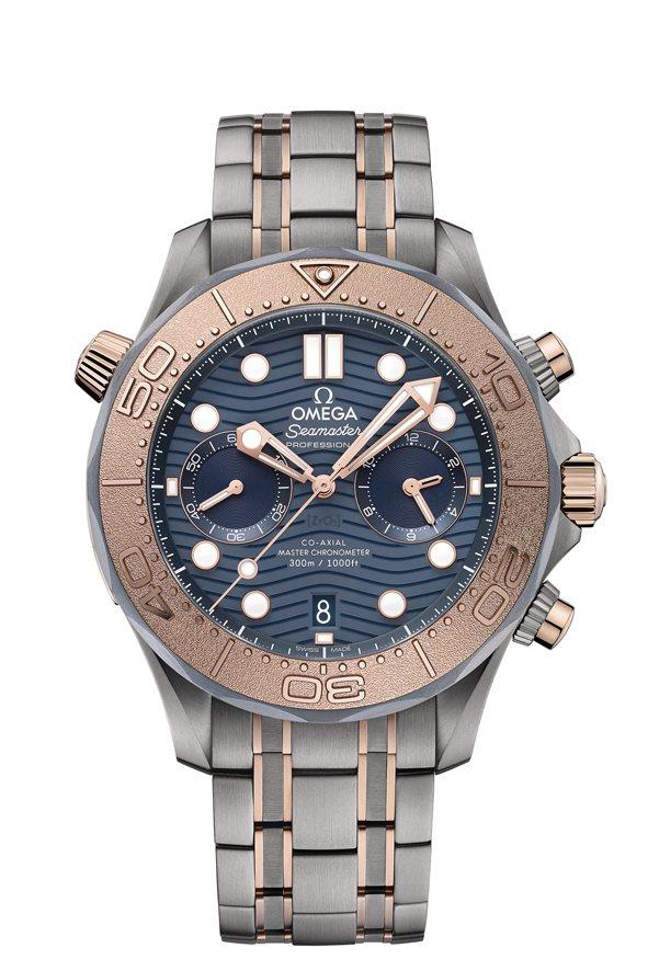 OMEGA,海馬潛水300米計時碼表,二級鈦金屬表殼,44毫米,大師天文台同軸擒...