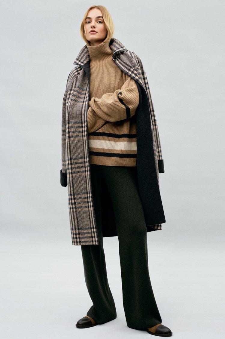 橡木色、炭灰色雙面St. Patrick小山羊喀什米爾針織外套,優雅實穿。圖/L...
