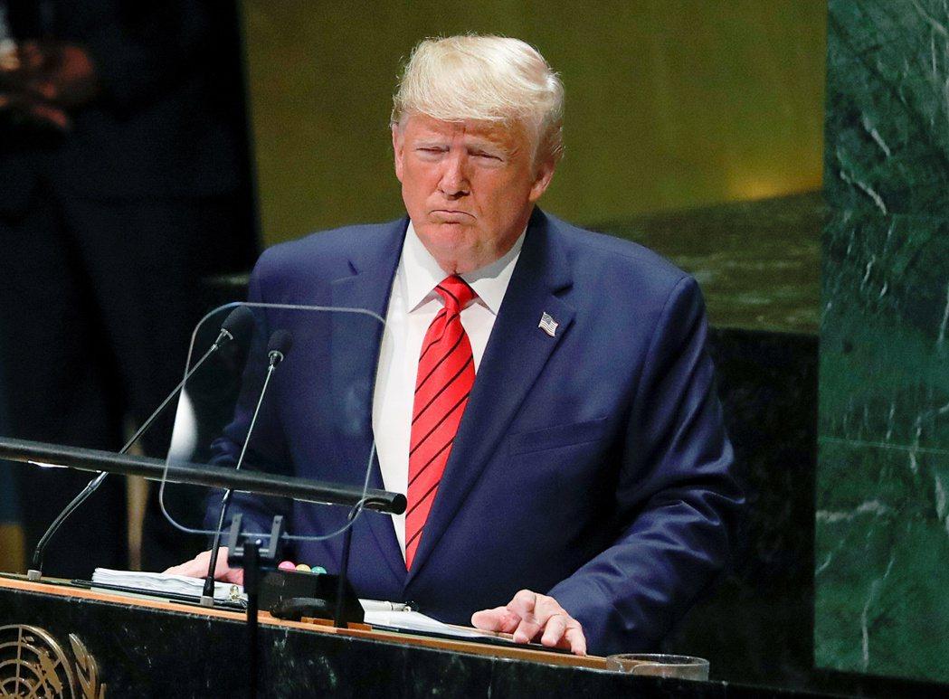 川普去年9月24日在紐約聯合國總部聯大一般辯論發表演說。(路透)