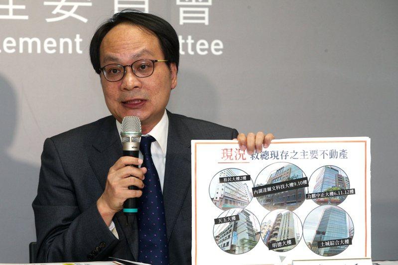 黨產會主委林峯正昨天舉行「認定社團法人中華救助總會為國民黨附隨組織」說明記者會。 記者蘇健忠/攝影