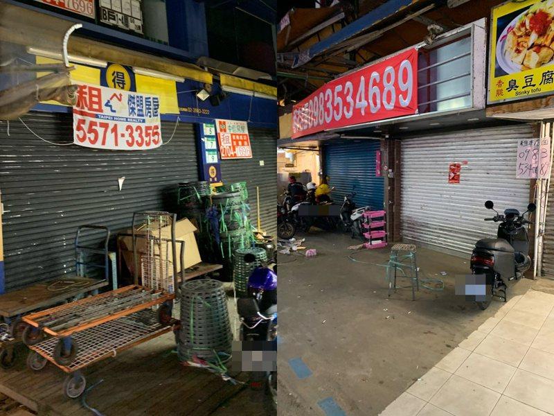 網友貼出士林夜市近況,有不少店家在招租。 圖擷自PTT