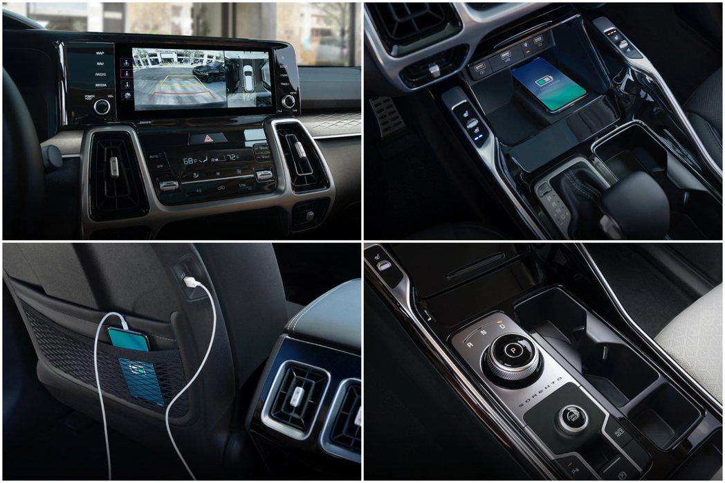大改款美規Kia Sorento車內共提供了八個USB充電插槽。 摘自Kia