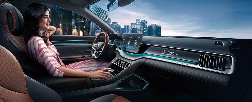 乘客座配有智慧互動數字面板。 摘自比亞迪汽車