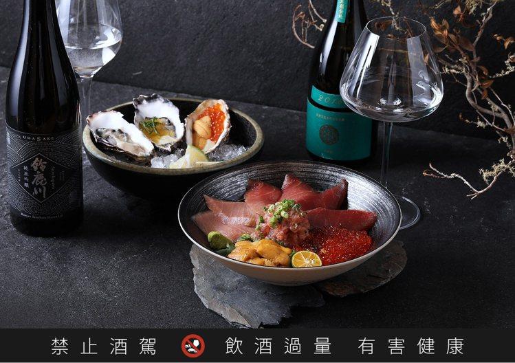 「天鵞絨 生酛純米酒」可柔化黑鮪魚的酸味,「風之舞藤 純米吟釀」則有著絕佳的平衡...