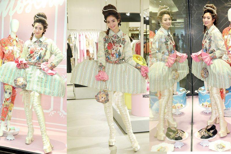 謝沛恩出席Moschino秋冬新品鑑賞會,特別挑戰了秀上款的浮誇造型穿搭。攝影/記者曾學仁