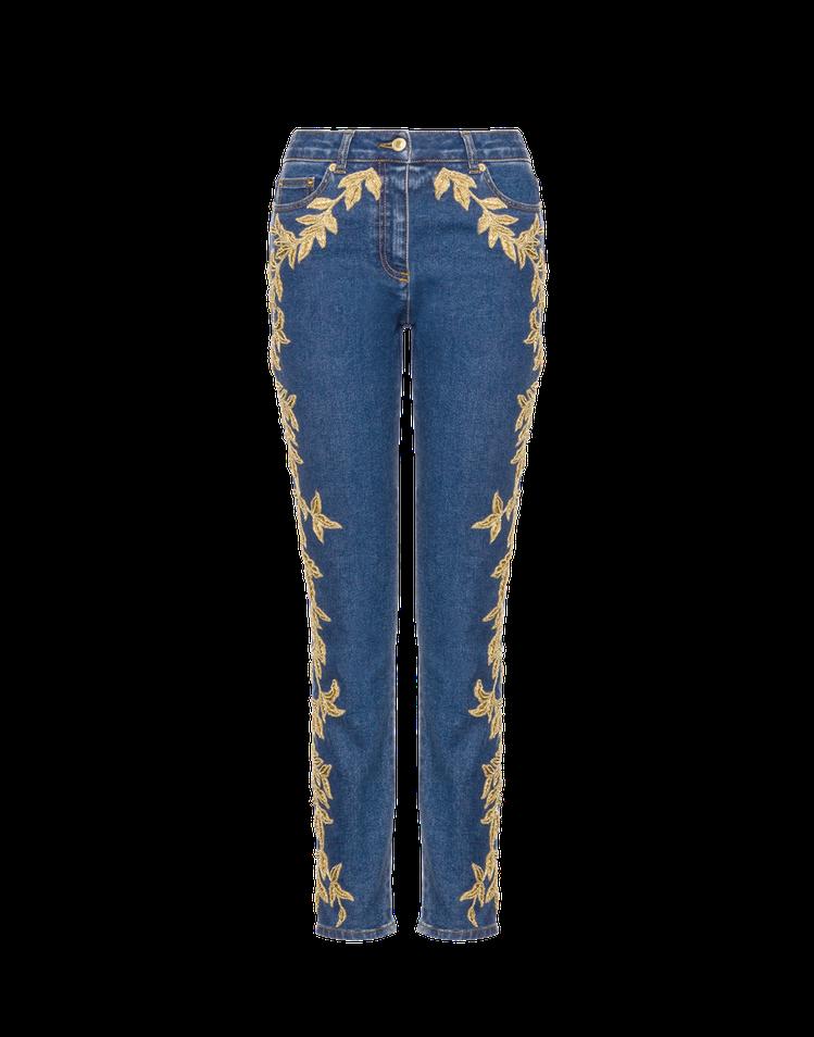 Moschino秋冬系列繡金線牛仔褲91,500元。圖/Bluebell提供